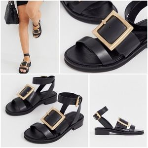 ASOS DESIGN Forever Leather Strappy Buckle Sandals
